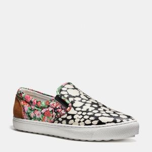 NEW Coach C103 floral leather slip-on loafer